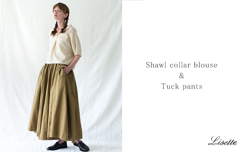Shawl collar blouse  &  Tuck pants