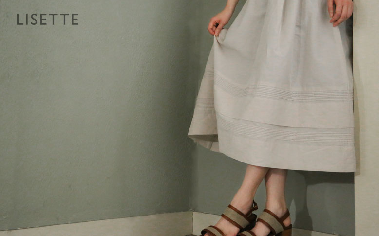 コットンラミーのピンタックギャザースカート