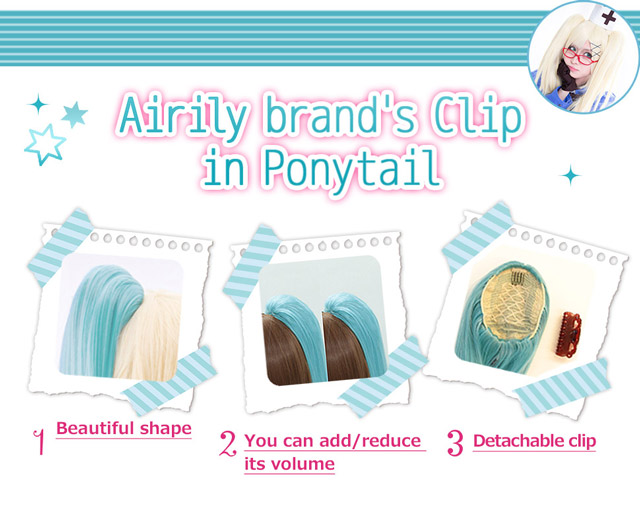 Airily brand's Clip in Ponytail 1.Beautiful shape 2.You can add /reduce its volume 3.Detachable clip